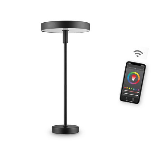 Lampe de table intelligente Wi-Fi en du coleur satiné noir, 7 watts, RGB multicolore