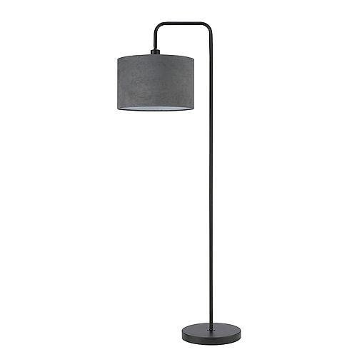 Barden 58 inch Black Floor Lamp with Dark Gray Velvet Shade