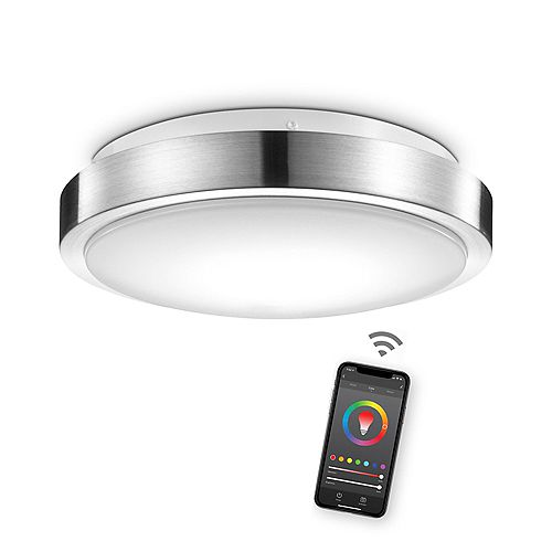 """Wi-Fi Smart 11"""" Flush Mount Light, Brushed Nickel, 16 Watts, Color Changing RGB, Tunable White"""