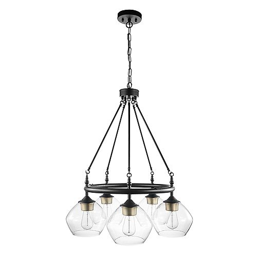 Globe Electric Harrow 5-Light Matte Black Chandelier with Gold Accent Sockets and Clear Glass Shades