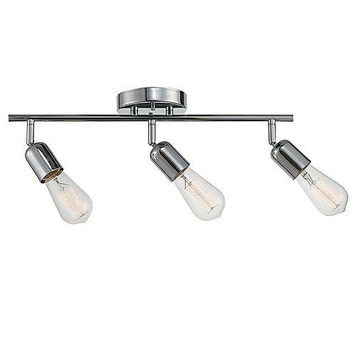 Globe Electric Rail d'éclairage à trois lumières de la collection Pearson en chrome