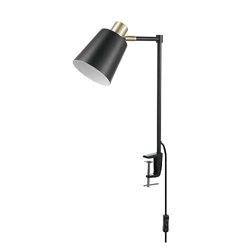 Lampe de bureau à pince de 19 po avec bras pivotant de collection Lex en de couleur noir