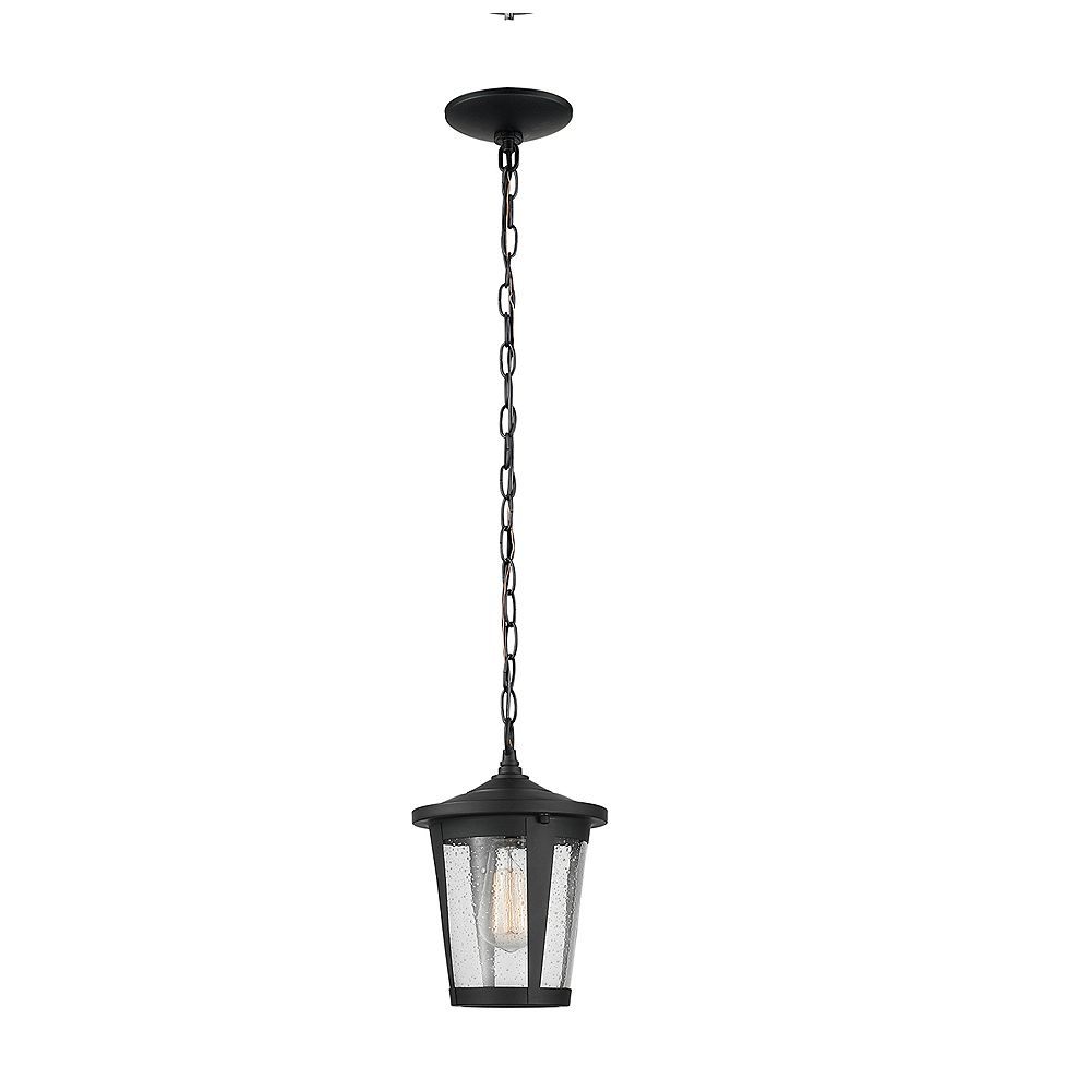 Globe Electric Augusta 1-Light Matte Black Outdoor Indoor Pendant Lighting with Seeded Glass Shade