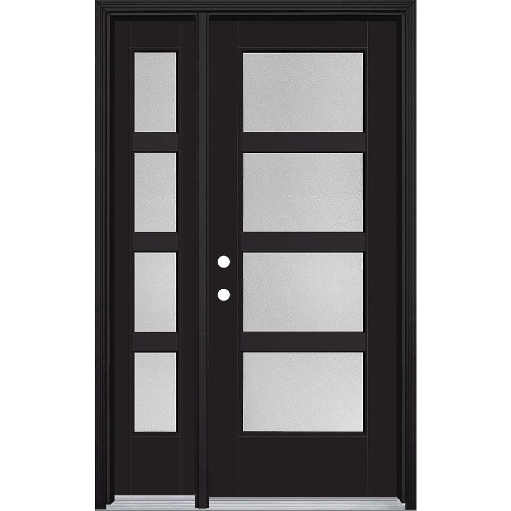 Masonite 32-inch x 80-inch Vista Grande Pear 4 Lite Wide Exterior Door w/ SL Smooth Fiberglass Black Right-Hand