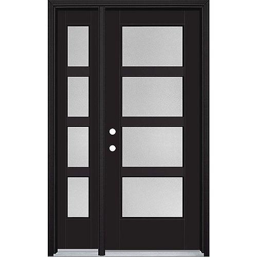 32-inch x 80-inch Vista Grande Pear 4 Lite Wide Exterior Door w/ SL Smooth Fiberglass Black Right-Hand