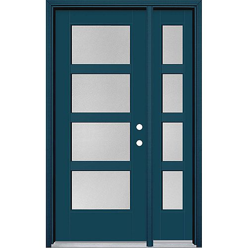 32-inch x 80-inch Vista Grande Pear 4 Lite Wide Exterior Door w/ Sidelite Smooth Fiberglass Blue Left-Hand
