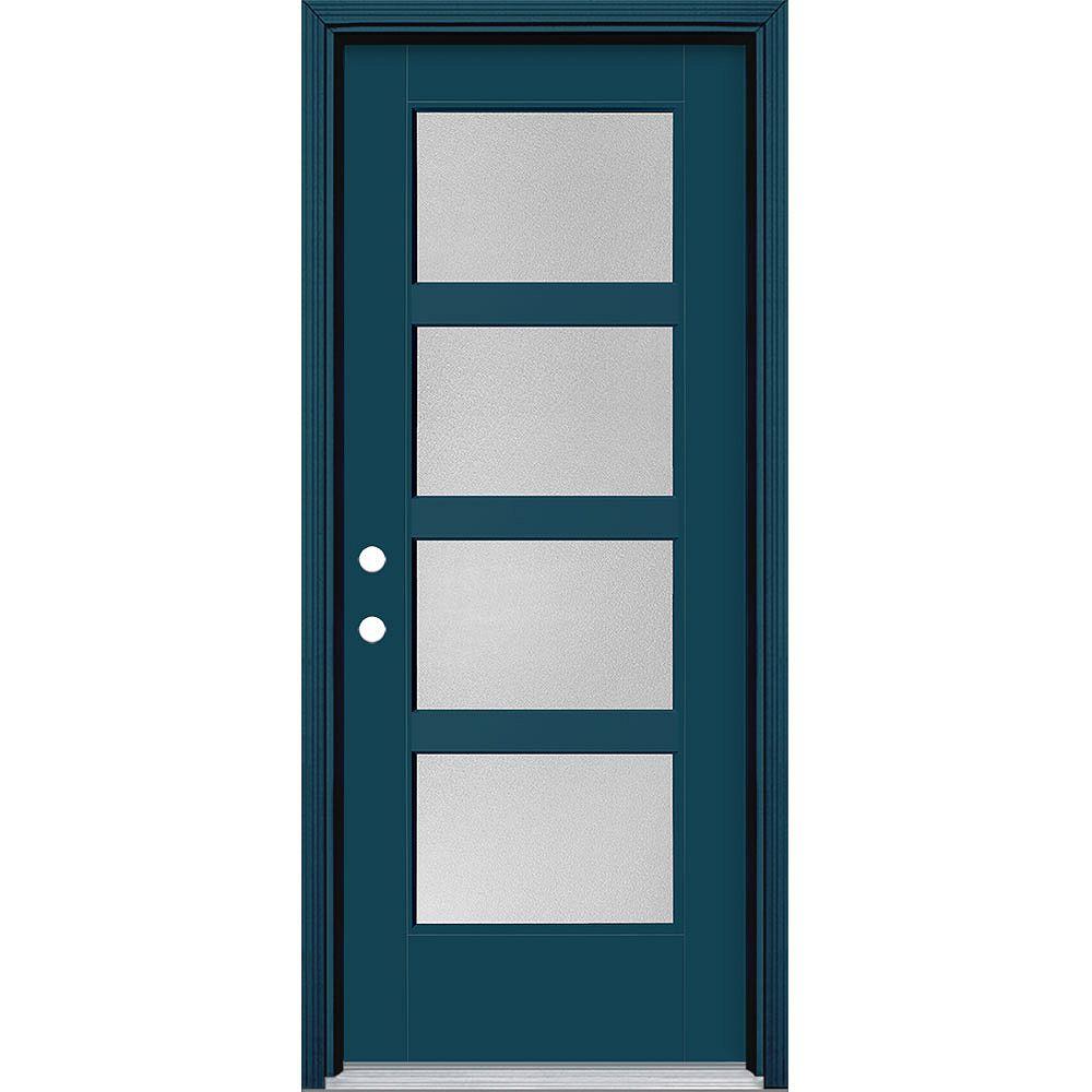 Masonite 32-inch x 80-inch Vista Grande Pear 4 Lite Wide Exterior Door Smooth Fiberglass Blue Right-Hand