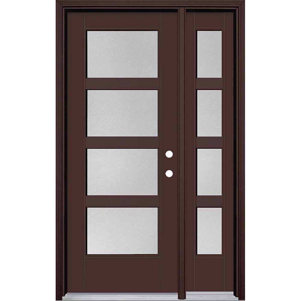 Masonite Porte extérieure large de 32 pouces x 80 pouces Vista Grande Pear 4 Lite avec SL Fibre de verre lisse Marron à gauche