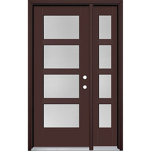32-inch x 80-inch Vista Grande Pear 4 Lite Wide Exterior Door w/ SL Smooth Fiberglass Brown Left-Hand