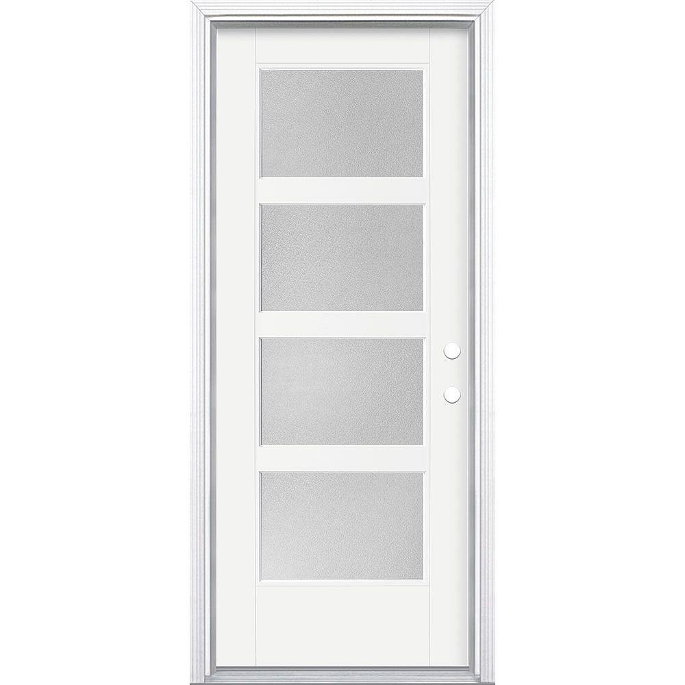 Masonite 32-inch x 80-inch Vista Grande Pear 4 Lite Wide Exterior Door Smooth Fiberglass White Left-Hand