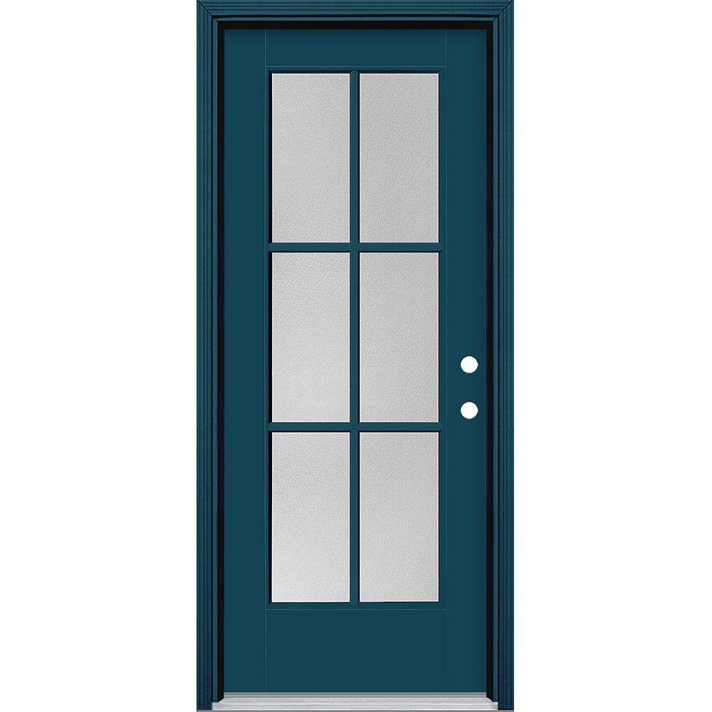 Masonite 32 pouces x 80 pouces Vista Grande Pear 6 Lite porte extérieure lisse en fibre de verre bleu à gauche