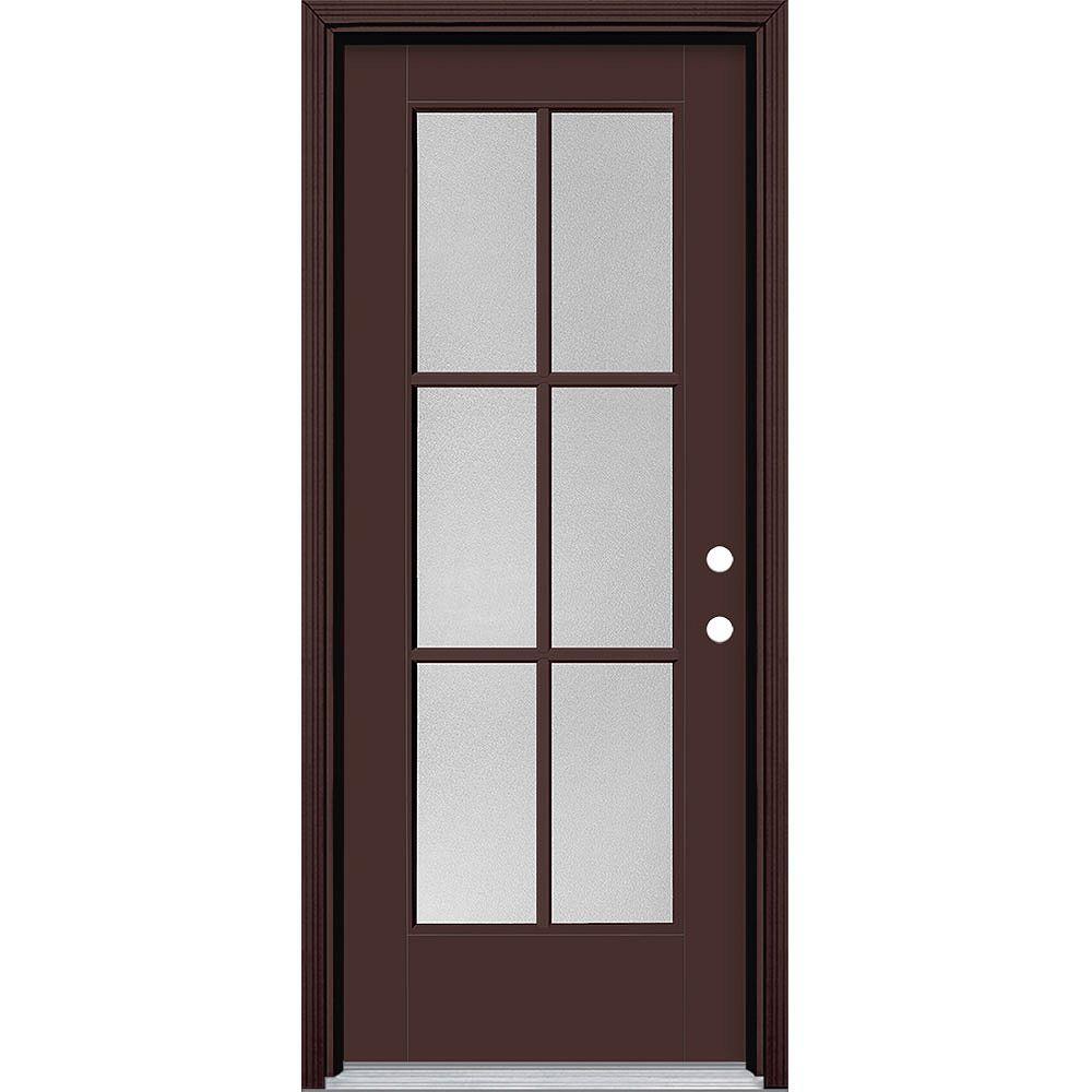 Masonite 32-inch x 80-inch Vista Grande Pear 6 Lite Exterior Door Smooth Fiberglass Brown Left-Hand
