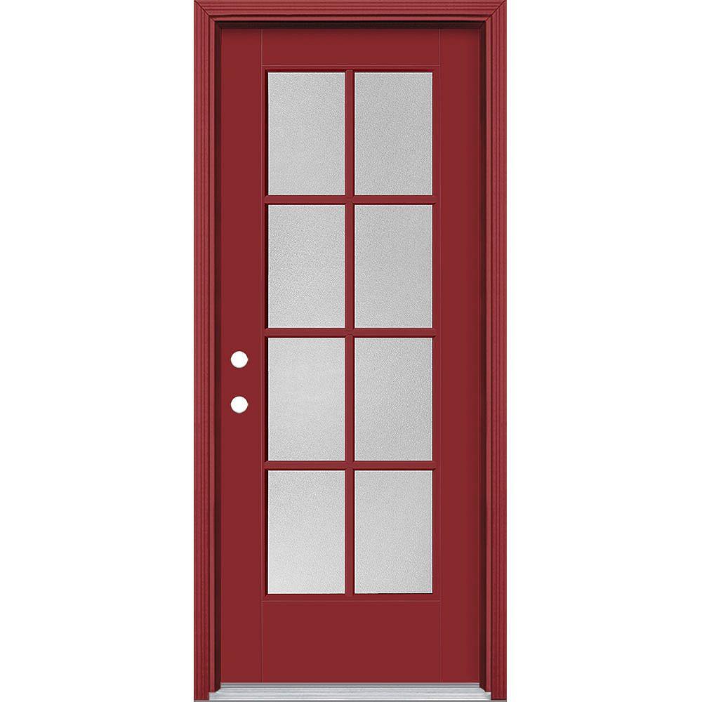Masonite Porte extérieure Vista Grande Pear 8 Lite 32 pouces x 80 pouces Fibre de verre lisse Rouge à droite