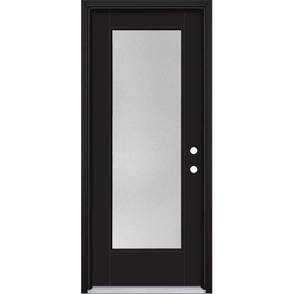 Masonite 32-inch x 80-inch Vista Grande Pear Full Lite Exterior Door Smooth Fiberglass Black Left-Hand