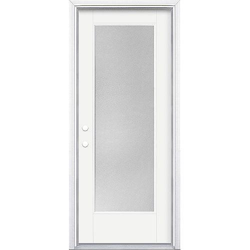 32-inch x 80-inch Vista Grande Pear Full Lite Exterior Door Smooth Fiberglass White Right-Hand