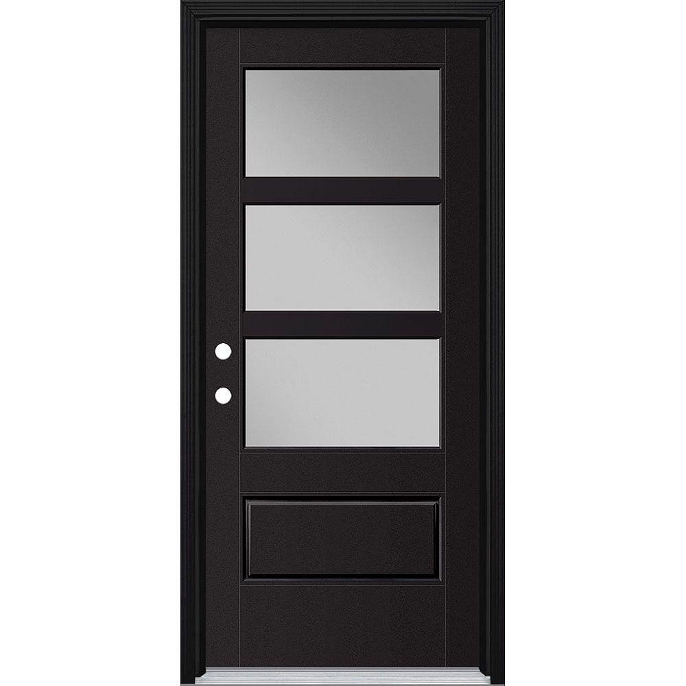 Masonite 34-inch x 80-inch Vista Grande 3 Lite Wide Exterior Door Smooth Fiberglass Black Right-Hand