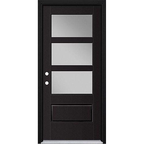 34-inch x 80-inch Vista Grande 3 Lite Wide Exterior Door w/ Cladding Smooth Fiberglass Black Right-Hand