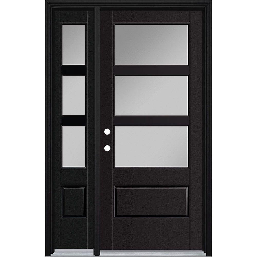 Masonite 34-inch x 80-inch Vista Grande 3 Lite Wide Exterior Door w/ Sidelite Smooth Fiberglass Black Right-Hand