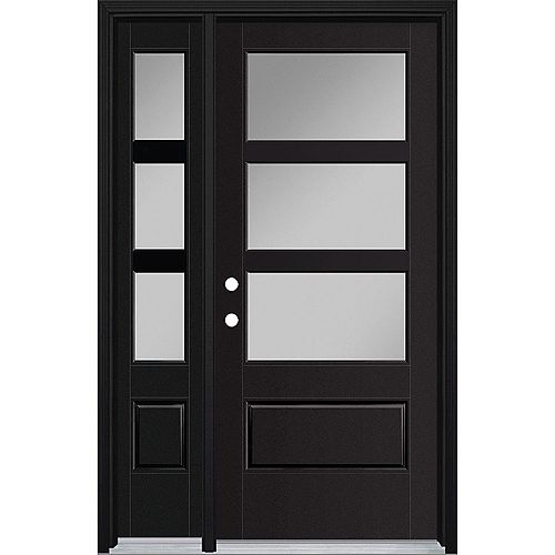 34-inch x 80-inch Vista Grande 3 Lite Wide Exterior Door w/ Sidelite Smooth Fiberglass Black Right-Hand