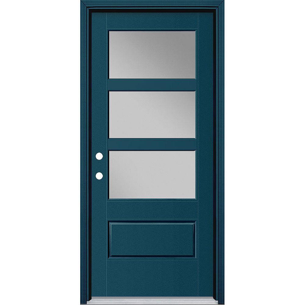 Masonite 34-inch x 80-inch Vista Grande 3 Lite Wide Exterior Door Smooth Fiberglass Blue Right-Hand