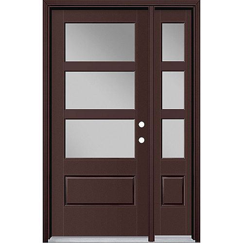 34-inch x 80-inch Vista Grande 3 Lite Wide Exterior Door w/ SL & Clad Smooth Fiberglass Brown Left-Hand