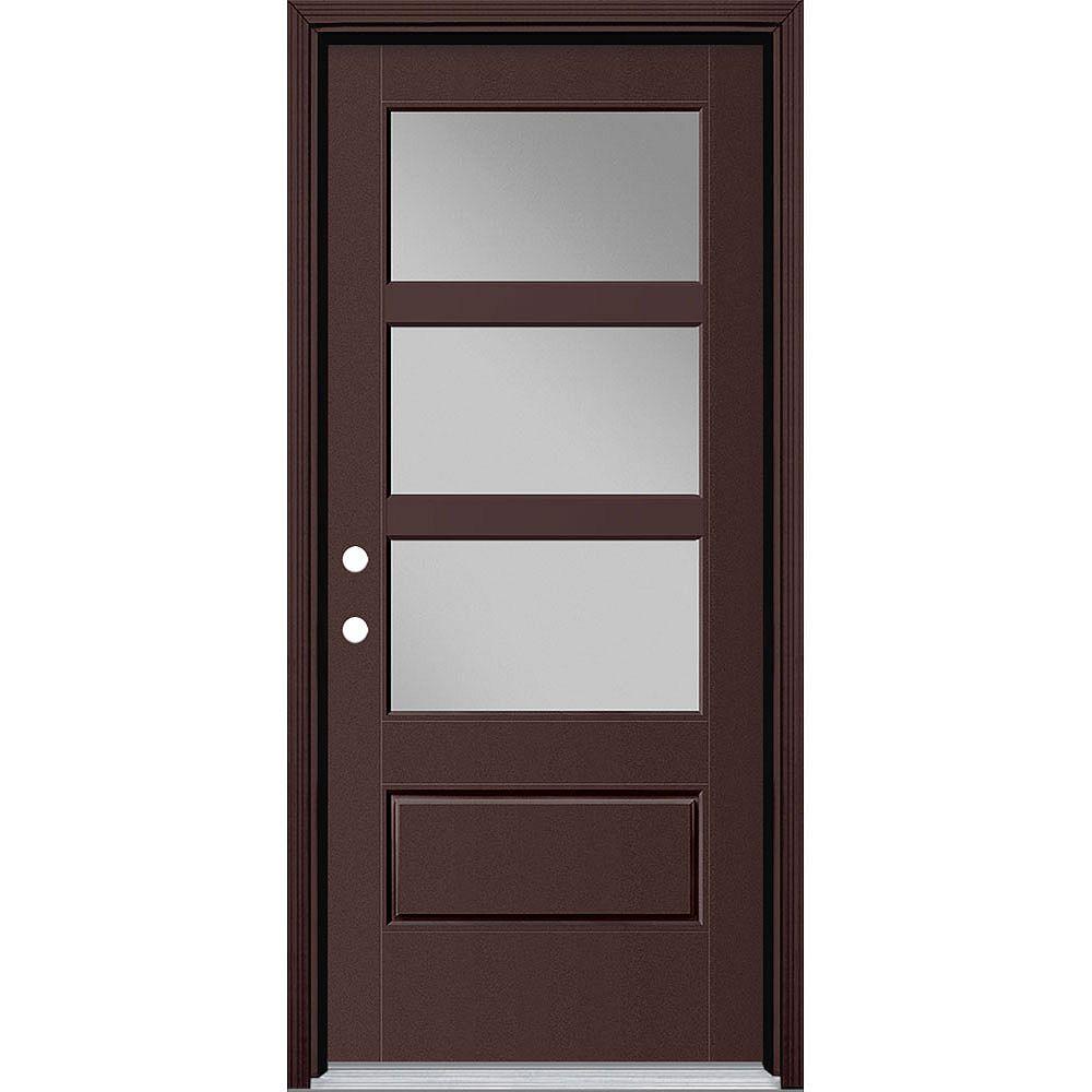 Masonite 34-inch x 80-inch Vista Grande 3 Lite Wide Exterior Door Smooth Fiberglass Brown Right-Hand