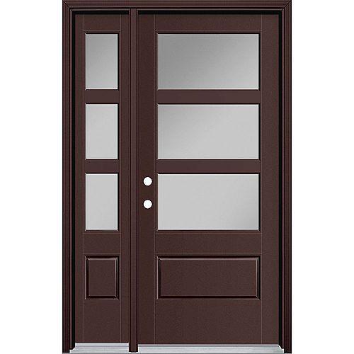 Masonite Porte extérieure large de 34 pouces x 80 pouces Vista Grande 3 Lite avec SL et revêtement en fibre de verre lisse brun à droite