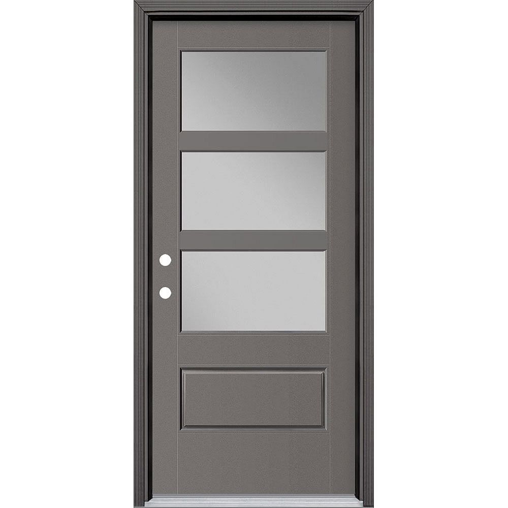 Masonite 34-inch x 80-inch Vista Grande 3 Lite Wide Exterior Door Smooth Fiberglass Grey Right-Hand