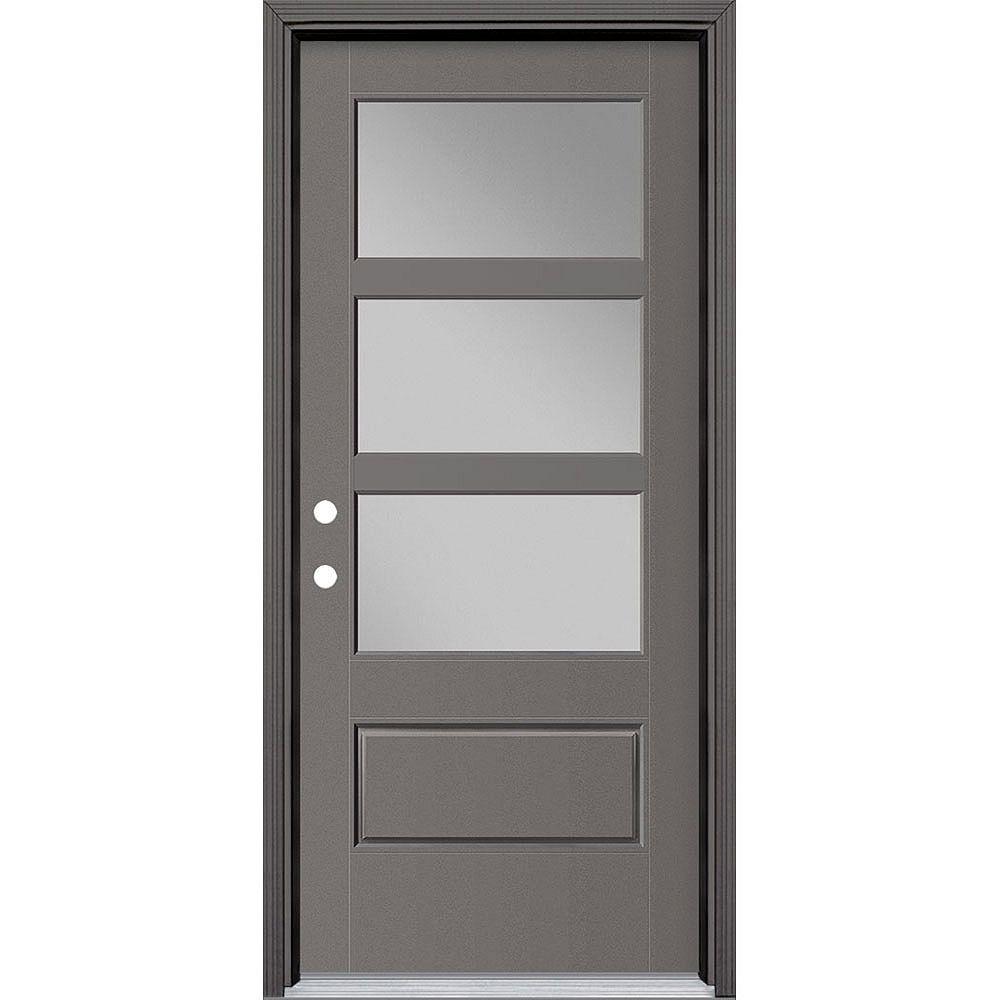 Masonite 34-inch x 80-inch Vista Grande 3 Lite Wide Exterior Door w/ Cladding Smooth Fiberglass Grey Right-Hand