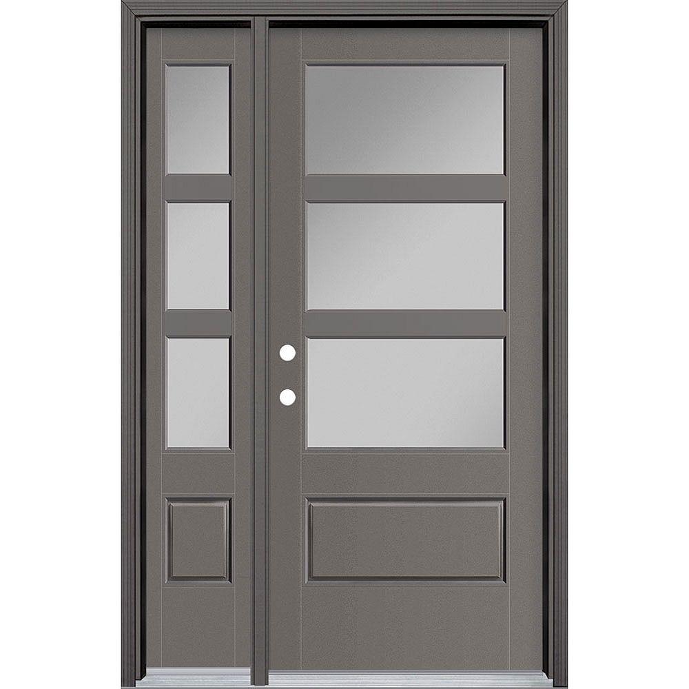 Masonite Porte extérieure large de 34 pouces x 80 pouces Vista Grande 3 Lite avec SL et fibre de verre lisse habillée Gris à droite