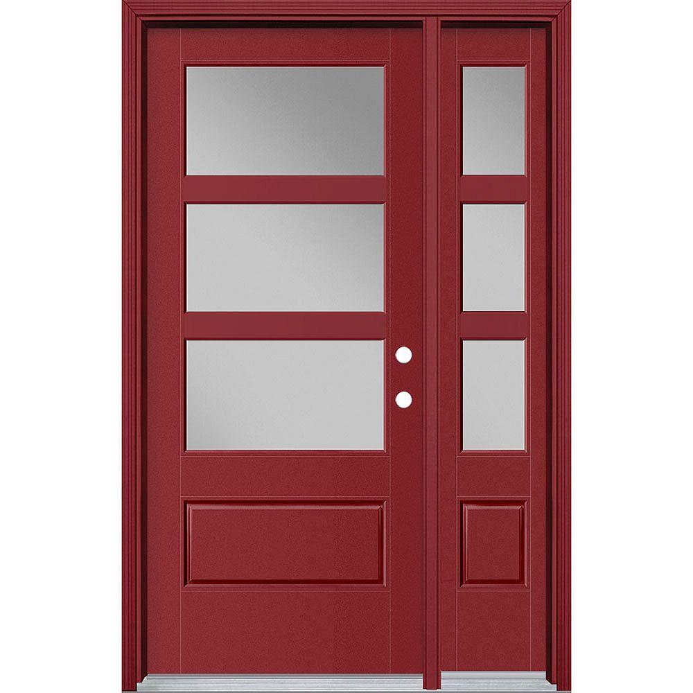 Masonite 34-inch x 80-inch Vista Grande 3 Lite Wide Exterior Door w/ Sidelite Smooth Fiberglass Red Left-Hand