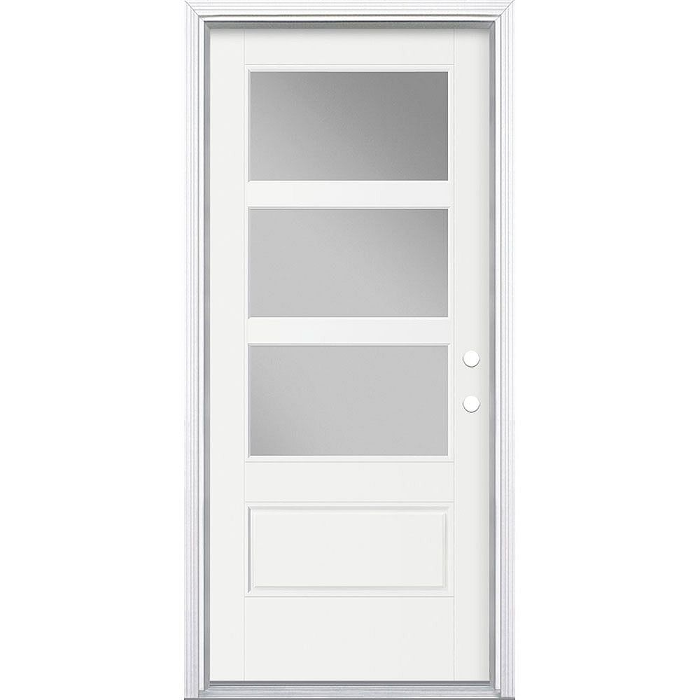 Masonite 34-inch x 80-inch Vista Grande 3 Lite Wide Exterior Door w/ Cladding Smooth Fiberglass White Left-Hand
