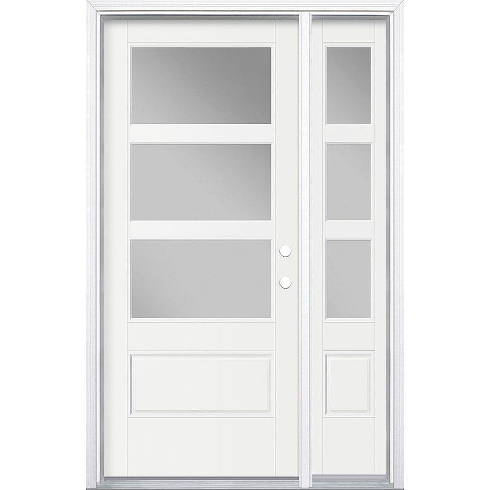 Masonite 34-inch x 80-inch Vista Grande 3 Lite Wide Exterior Door w/ SL & Clad Smooth Fiberglass White Left-Hand
