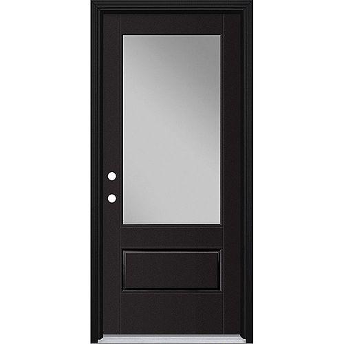 34in x 80in Vista Grande 3/4 Lite Wide Exterior Door Smooth Fiberglass Black Right-Hand