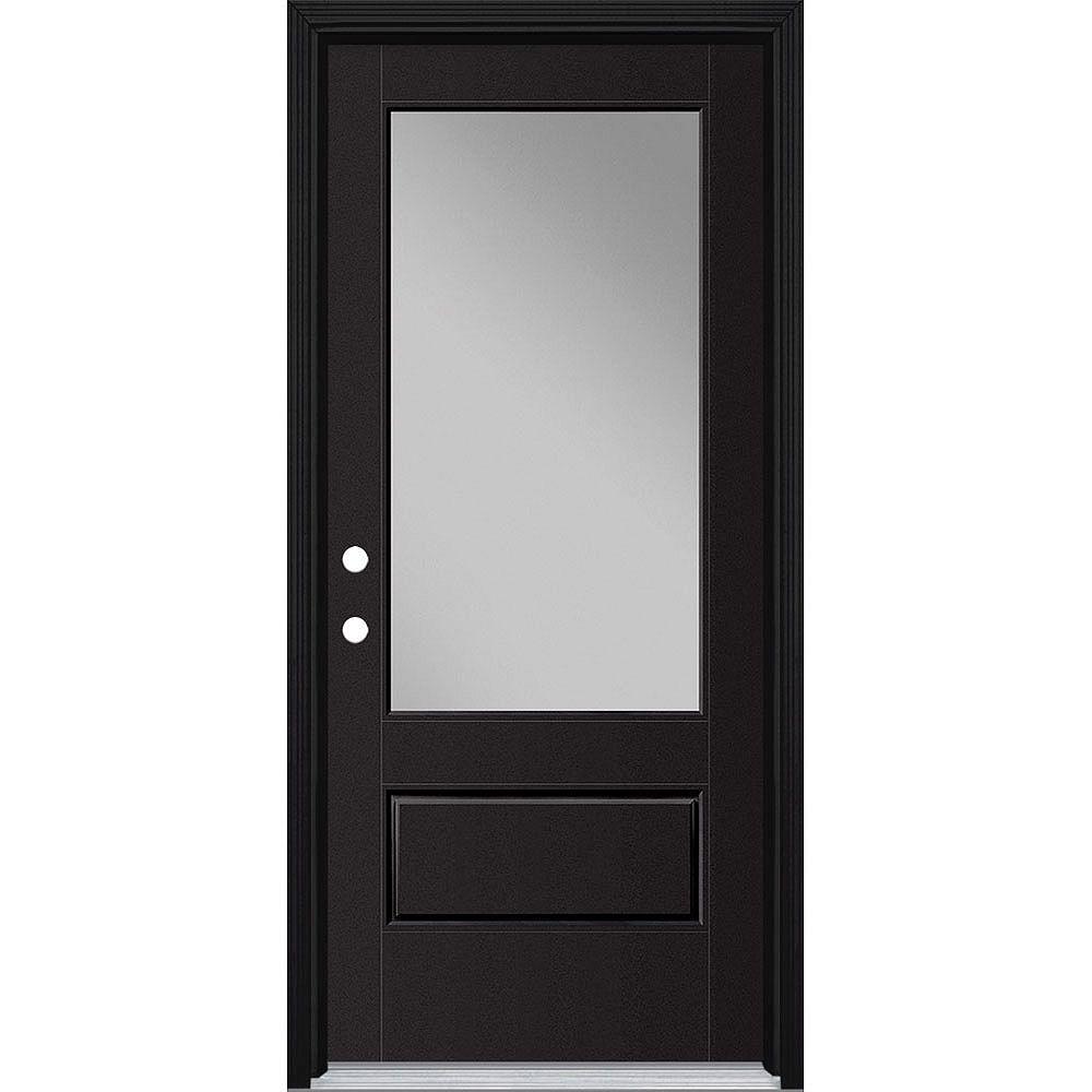 Masonite Porte en fibre de verre lisse Vista Grande Noire reco. 34 po x 80 po Verre 3/4  Main Droite