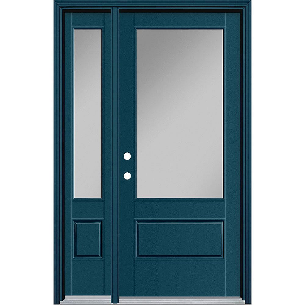 Masonite 34in x 80in Vista Grande 3/4 Lite Wide Exterior Door w/ Sidelite Smooth Fiberglass Blue Right-Hand