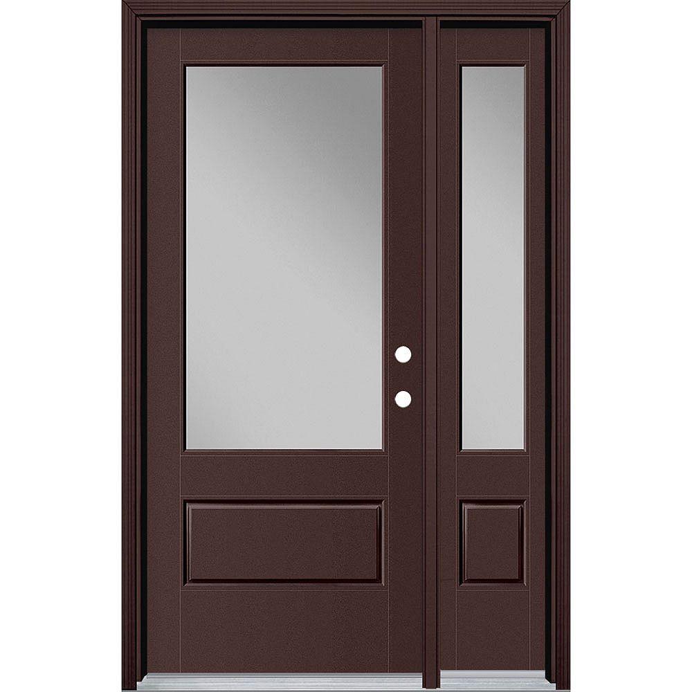 Masonite 34in x 80in Vista Grande 3/4 Lite Wide Exterior Door w/ SL & Clad Smooth Fiberglass Brown Left-Hand