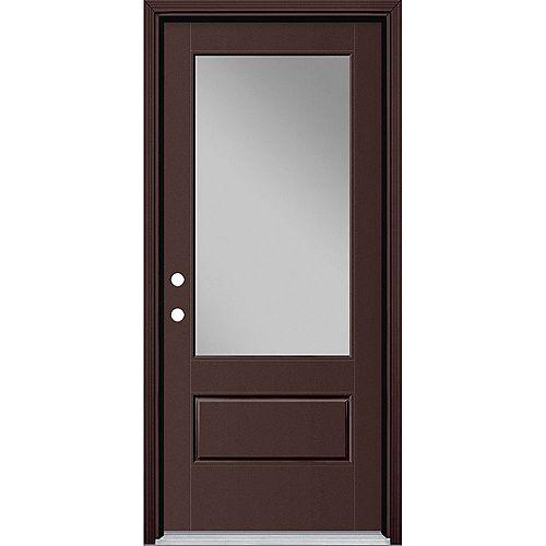 34in x 80in Vista Grande 3/4 Lite Wide Exterior Door w/ Cladding Smooth Fiberglass Brown Right-Hand