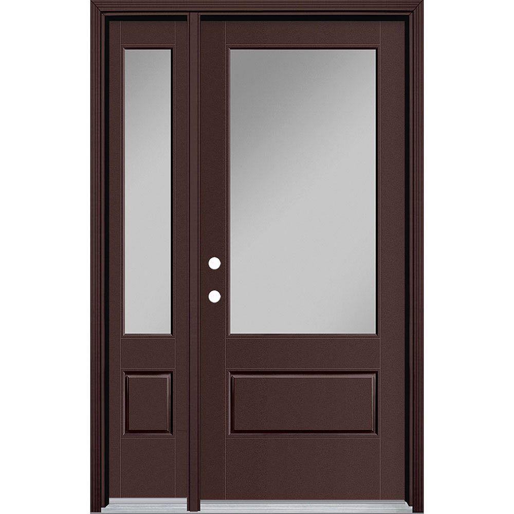 Masonite 34in x 80in Vista Grande 3/4 Lite Wide Exterior Door w/ Sidelite Smooth Fiberglass Brown Right-Hand