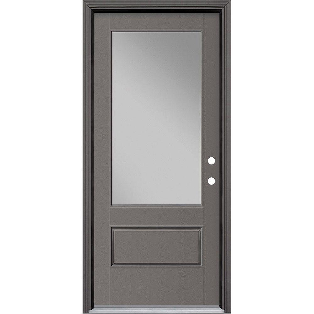 Masonite 34in x 80in Vista Grande 3/4 Lite Wide Exterior Door Smooth Fiberglass Grey Left-Hand