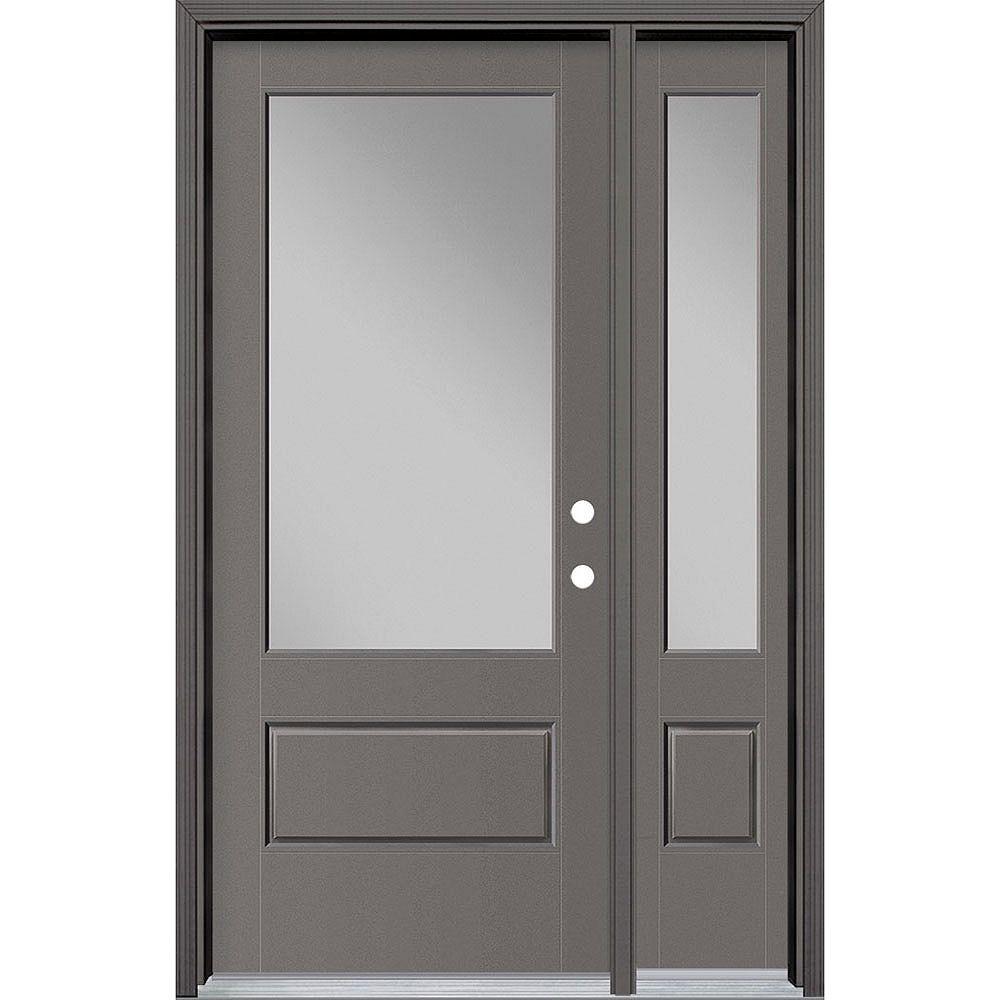 Masonite 34in x 80in Vista Grande 3/4 Lite Wide Exterior Door w/ SL & Clad Smooth Fiberglass Grey Left-Hand