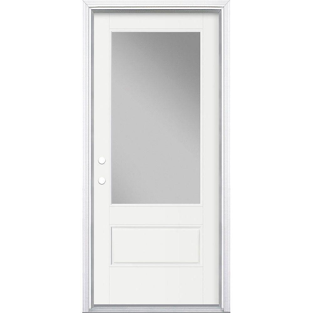 Masonite 34in x 80in Vista Grande 3/4 Lite Wide Exterior Door w/ Cladding Smooth Fiberglass White Right-Hand