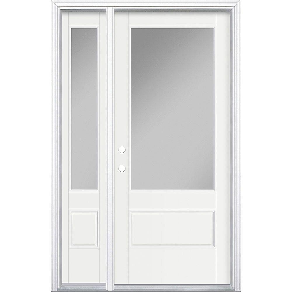 Masonite 34in x 80in Vista Grande 3/4 Lite Wide Exterior Door w/ Sidelite Smooth Fiberglass White Right-Hand
