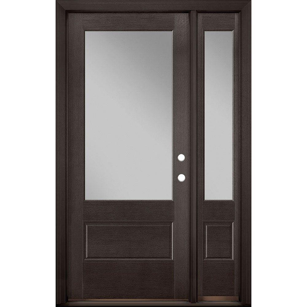Masonite 34in x 80in Vista Grande 3/4 Lite Wide Exterior Door w/ SL Textured Fiberglass Espresso Left-Hand