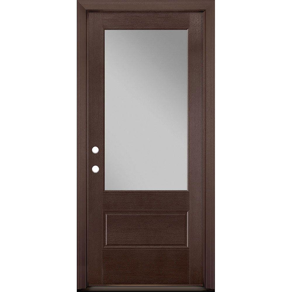 Masonite 34in x 80in Vista Grande 3/4 Lite Wide Exterior Door Textured Fiberglass Merlot Right-Hand