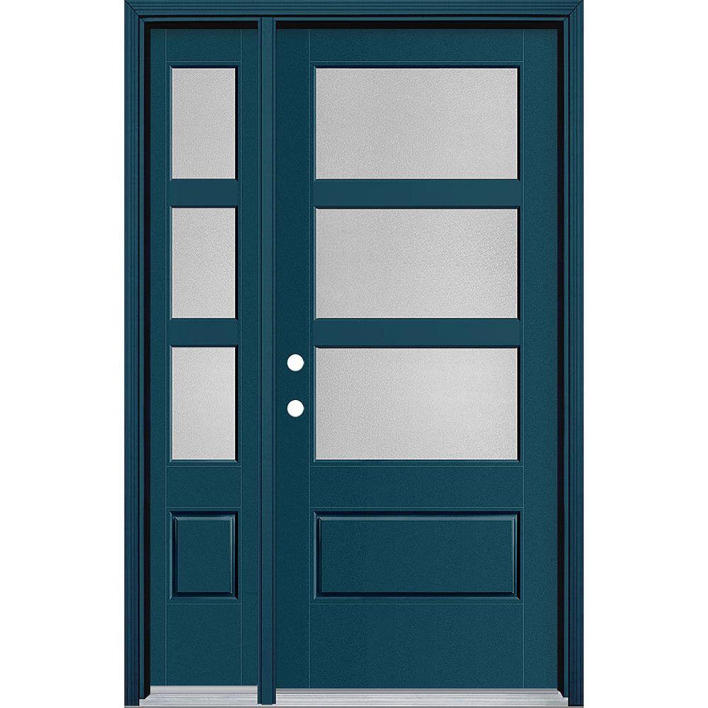 Masonite Porte/lat en fibre de verre lisse Vista Grande Blue 34 po x 80 po 3 CARR large Pear Main Droite