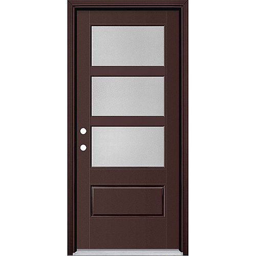Masonite 34in x 80in Vista Grande Pear 3 Lite Wide Exterior Door w/ Clad Smooth Fiberglass Brown Right-Hand