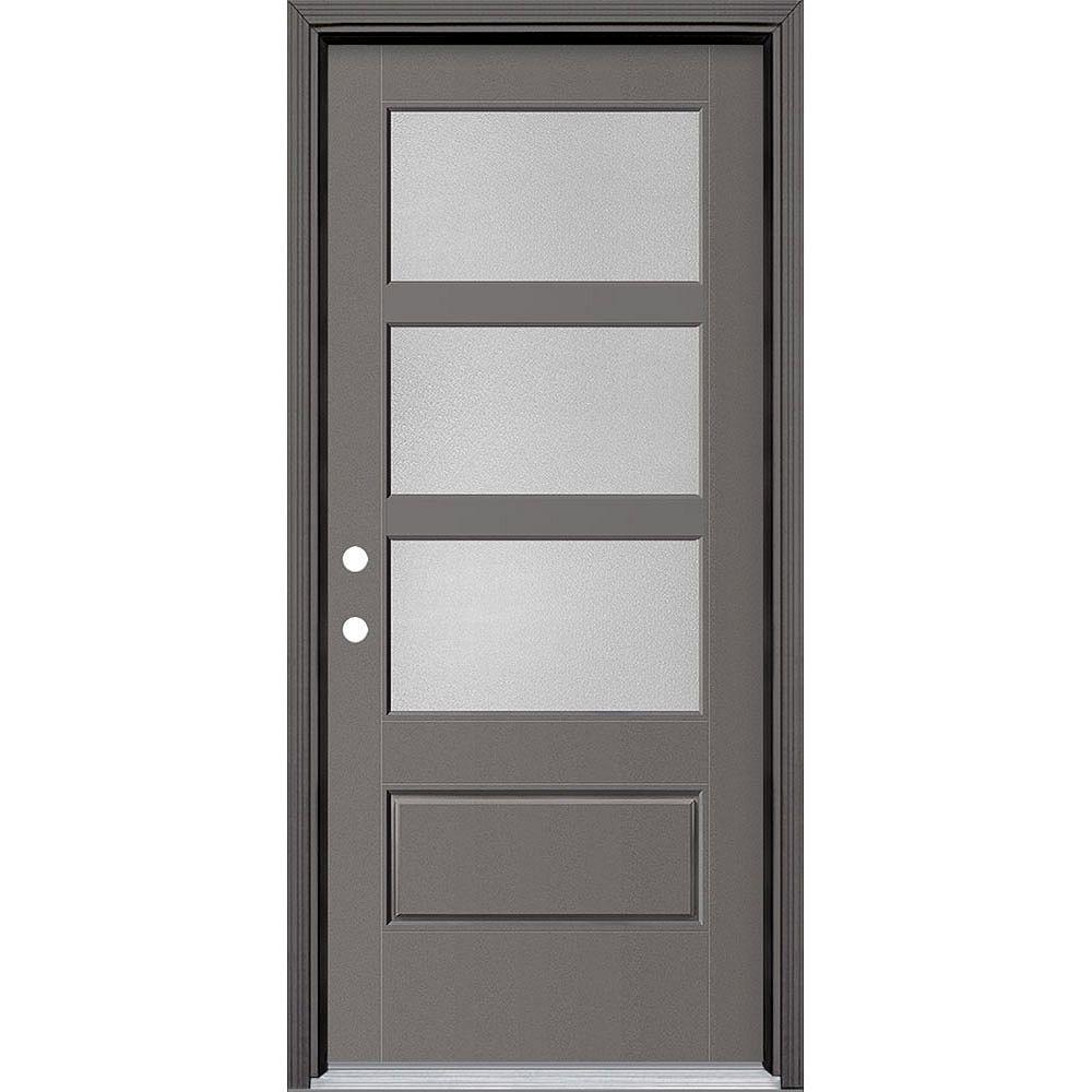 Masonite 34in x 80in Vista Grande Pear 3 Lite Wide Exterior Door Smooth Fiberglass Grey Right-Hand