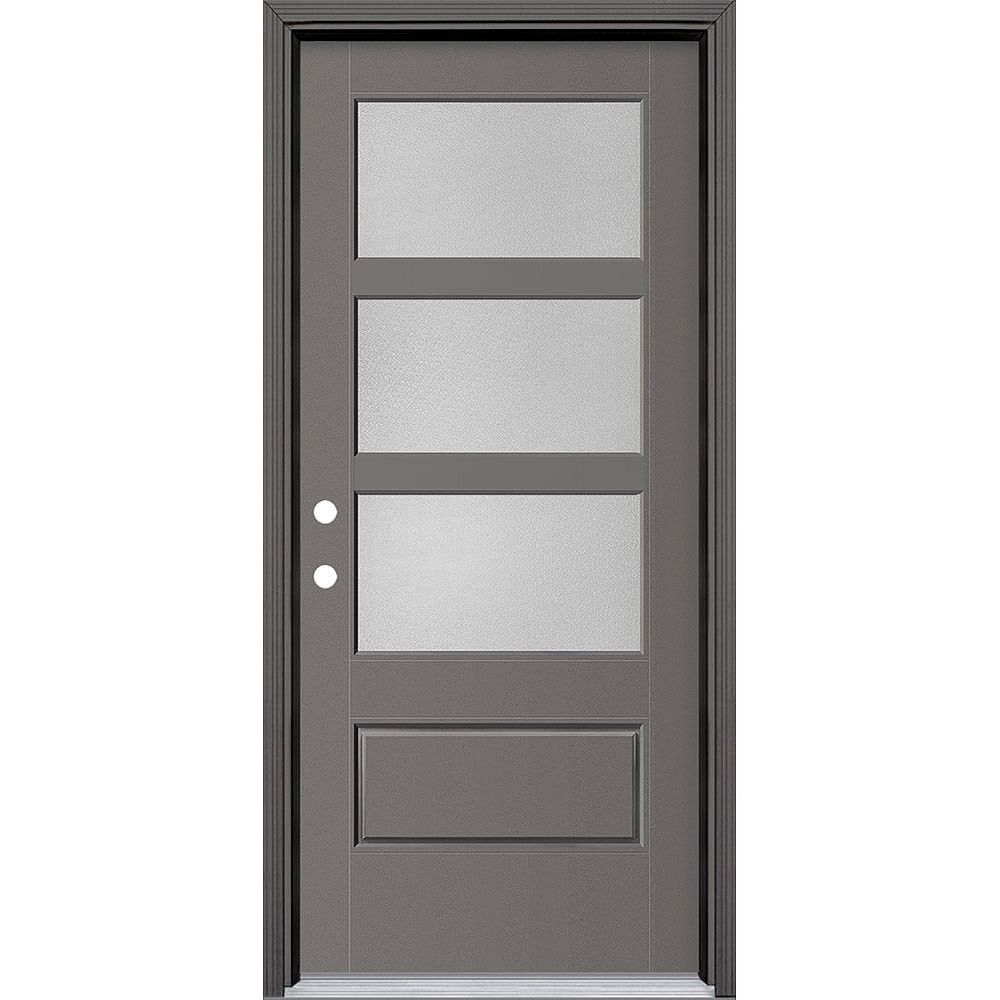 Masonite 34in x 80in Vista Grande Pear 3 Lite Wide Exterior Door w/ Clad Smooth Fiberglass Grey Right-Hand