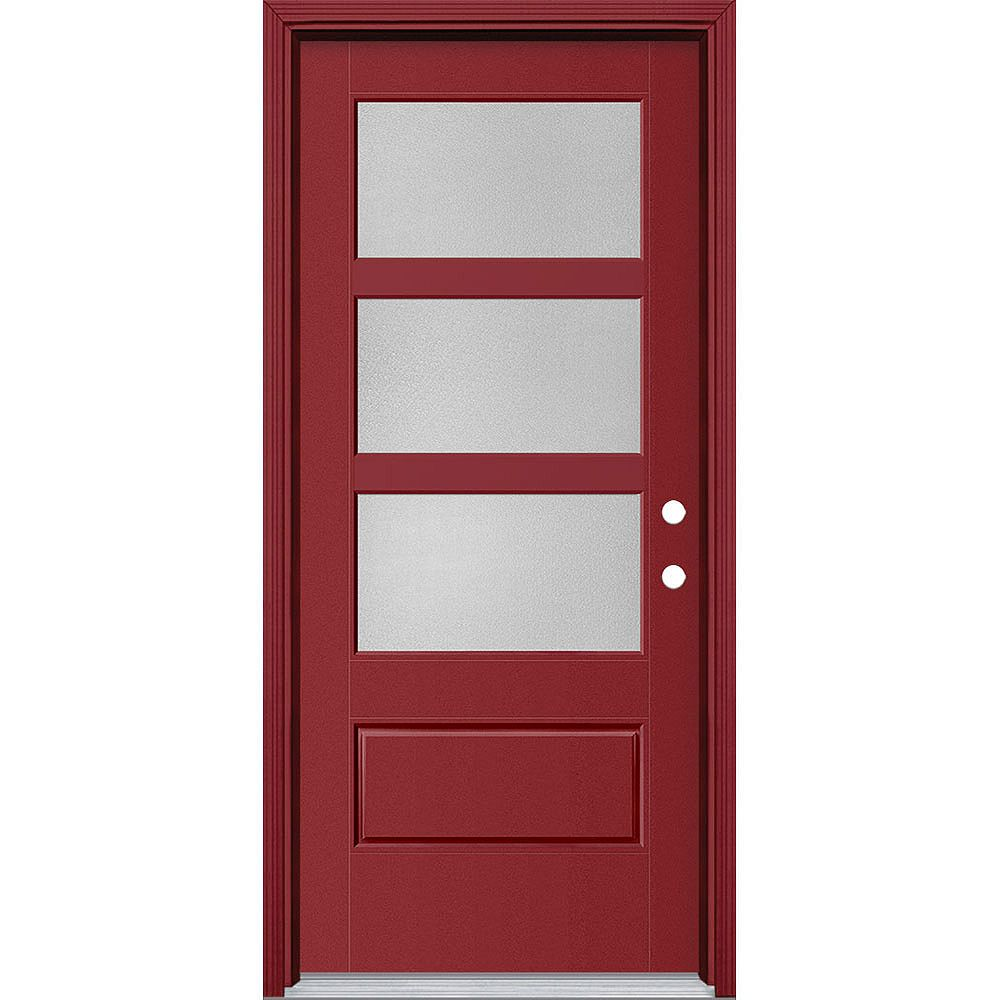 Masonite 34in x 80in Vista Grande Pear 3 Lite Wide Exterior Door w/ Cladding Smooth Fiberglass Red Left-Hand